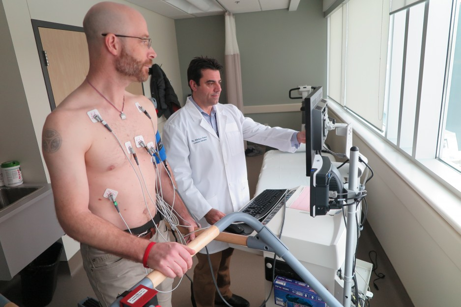 A patient undergoes cardiovascular testing in the cardiac investigation unit.