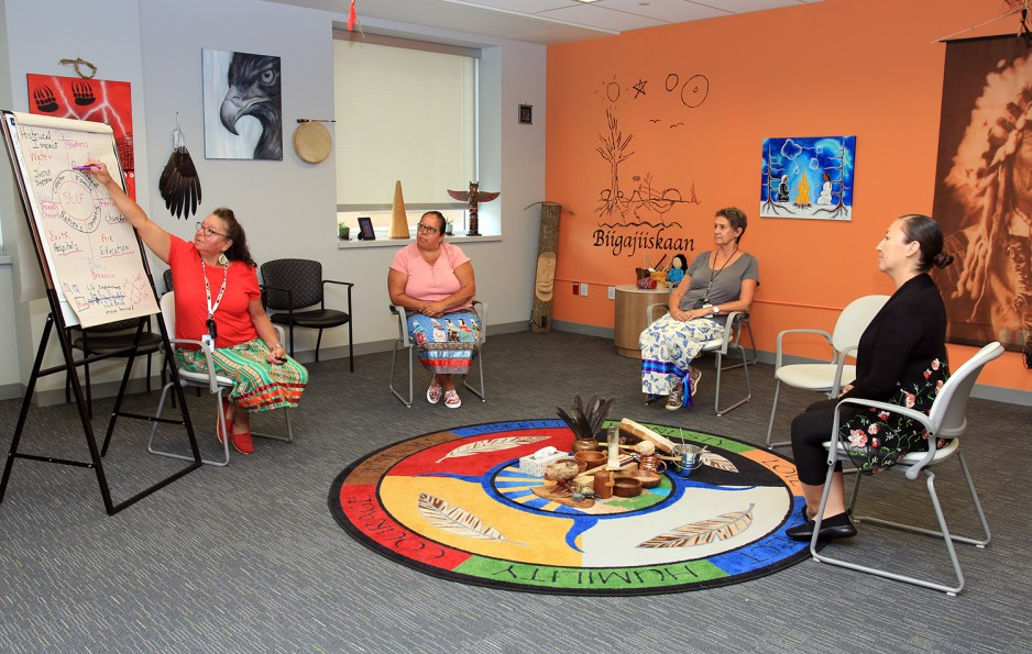 4 Indigenous women sitting in a healing circle