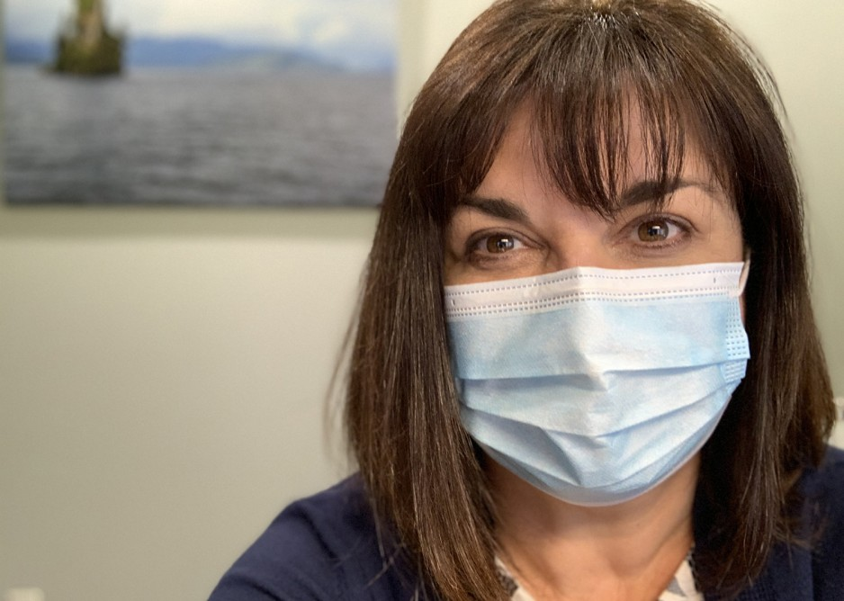 Sandra Northcott wearing a surgical mask