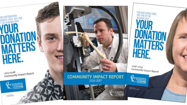cover photos of three previous Community Impact Reports