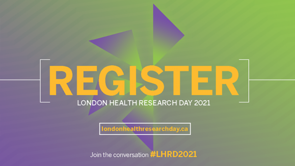 London Health Research Day logo indicating that people can register for the event